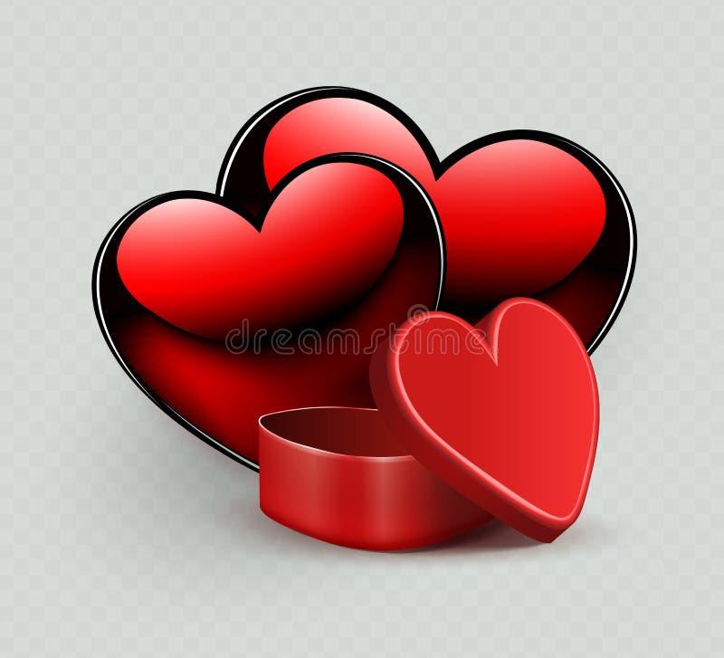 Σύνθεση με μια κόκκινη κασετίνα και τη σκιαγραφία δύο καρδιών, διανυσματική απεικόνιση