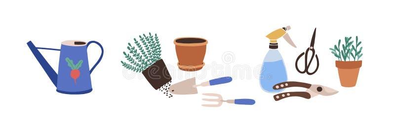 Σύνθεση με τα εργαλεία κηπουρικής που απομονώνεται στο άσπρο υπόβαθρο Δέσμη του εξοπλισμού για τη γεωργική εργασία, εγκαταστάσεις ελεύθερη απεικόνιση δικαιώματος