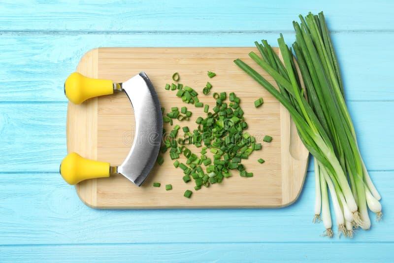 Σύνθεση με τα φρέσκα πράσινα κρεμμύδια στο ανοικτό μπλε ξύλινο υπόβαθρο στοκ φωτογραφίες με δικαίωμα ελεύθερης χρήσης