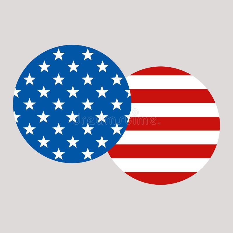 Σύνθεση με τη διανυσματική απεικόνιση αμερικανικών σημαιών επίπεδη απεικόνιση αποθεμάτων