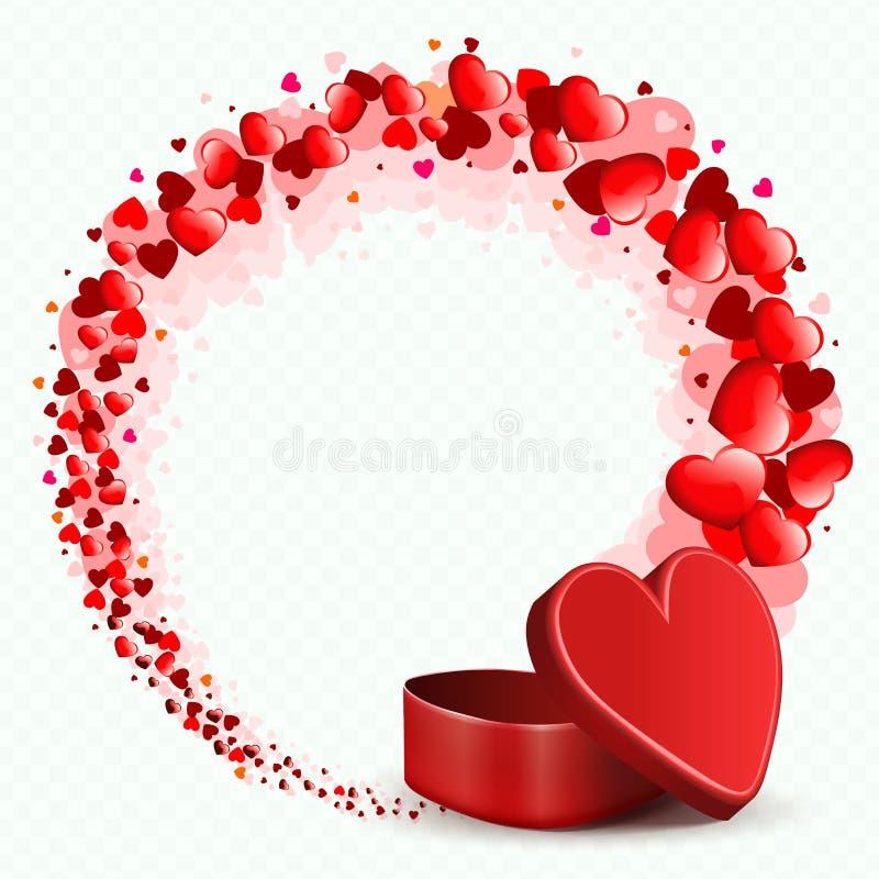 Σύνθεση μια κόκκινη κασετίνα και ένα στρογγυλό στεφάνι που προέρχονται με από πολλές καρδιές διανυσματική απεικόνιση