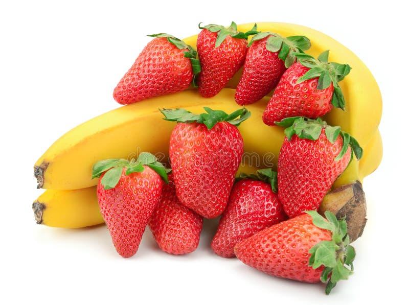 Σύνθεση της μπανάνας και της φράουλας στοκ εικόνες