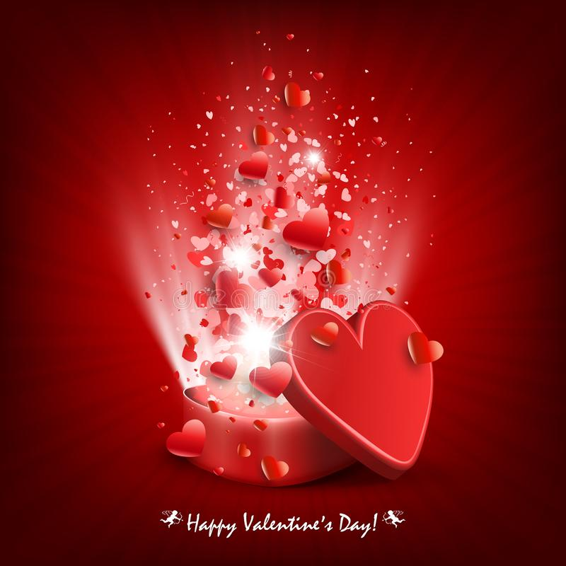 Σύνθεση του κόκκινου χρώματος με μια κασετίνα, σύνολο καρδιών και ακτίνων του φωτός ελεύθερη απεικόνιση δικαιώματος