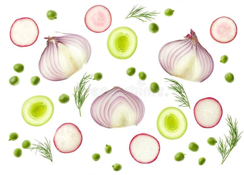 Σύνθεση των διάφορων τεμαχισμένων λαχανικών στοκ φωτογραφία