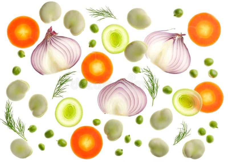 Σύνθεση των διάφορων τεμαχισμένων λαχανικών στοκ εικόνα