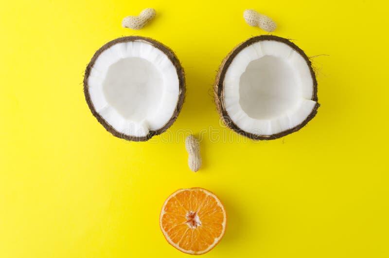 Σύνθεση των καρύδων, του πορτοκαλιού και των φυστικιών halfs που κάνει το αστείο, πρόσωπο χαμόγελου Δημιουργικός φωτεινός πυροβολ στοκ εικόνες