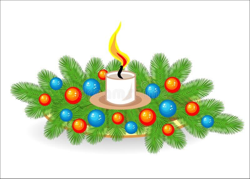 Σύνθεση των κλάδων χριστουγεννιάτικων δέντρων Παραδοσιακό σύμβολο του νέου έτους Δημιουργεί μια εορταστική διάθεση Διακοσμημένος  απεικόνιση αποθεμάτων