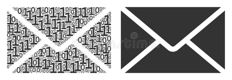 Σύνθεση φακέλων ταχυδρομείου των δυαδικών ψηφίων ελεύθερη απεικόνιση δικαιώματος