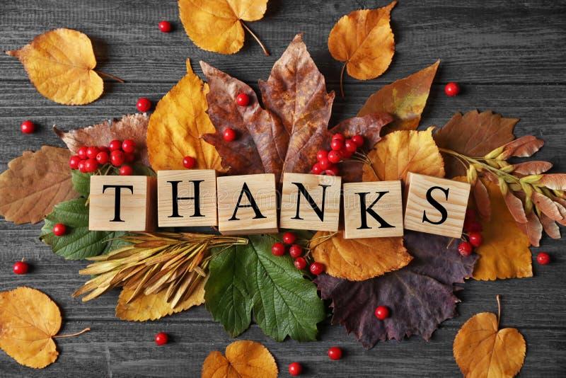 Σύνθεση φθινοπώρου με τα φύλλα, τα μούρα, τους κύβους και τις ΕΥΧΑΡΙΣΤΙΕΣ λέξης στο ξύλινο υπόβαθρο Έννοια ημέρας των ευχαριστιών στοκ φωτογραφία με δικαίωμα ελεύθερης χρήσης