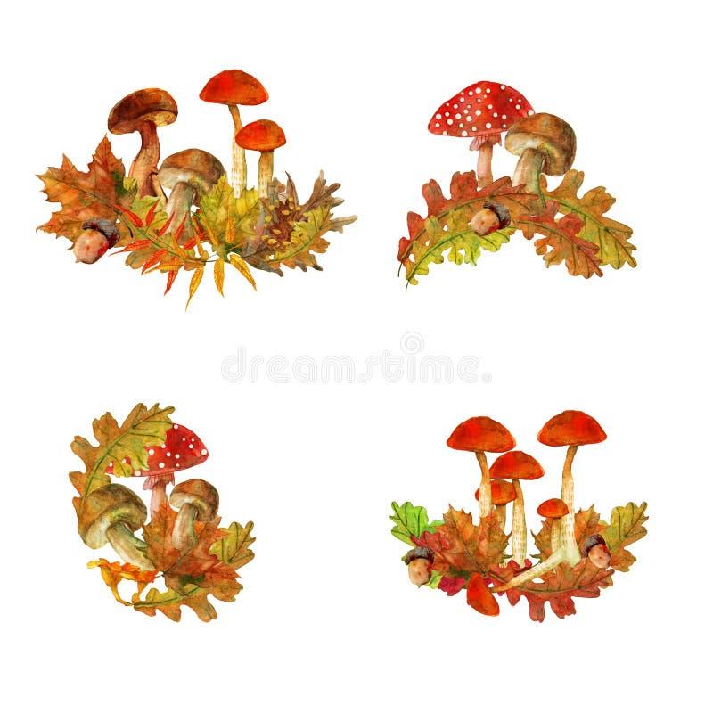 Σύνθεση φθινοπώρου με τα όμορφα φύλλα διανυσματική απεικόνιση