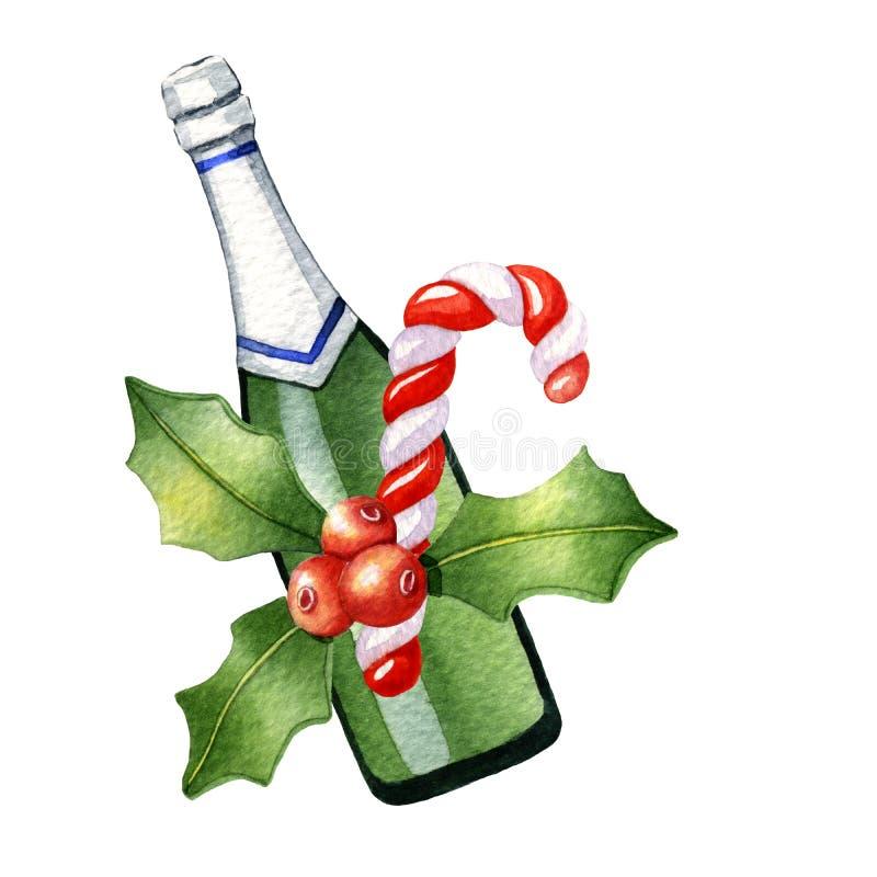 Σύνθεση Χριστουγέννων Watercolor με τη σαμπάνια, κάλαμοι καραμελών και απεικόνιση αποθεμάτων