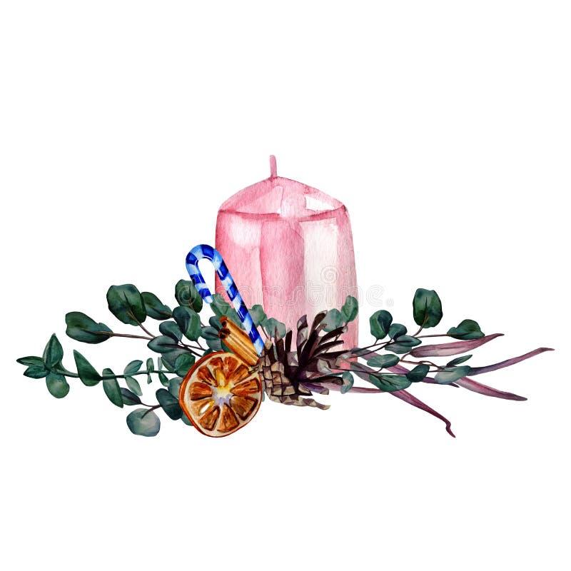 Σύνθεση χρωματισμένη με το χέρι με ροζ κερί, διακοσμημένη με κώνους, χριστουγεννιάτικα γλυκά, κλαδιά ευκάλυπτου, κομμάτι από διανυσματική απεικόνιση