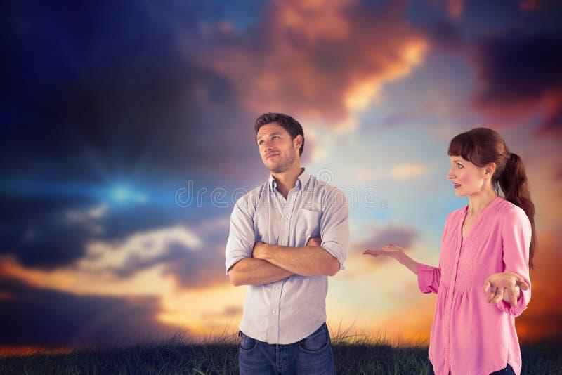 Σύνθετη εικόνα να υποστηρίξει γυναικών με ο άνδρας στοκ φωτογραφία