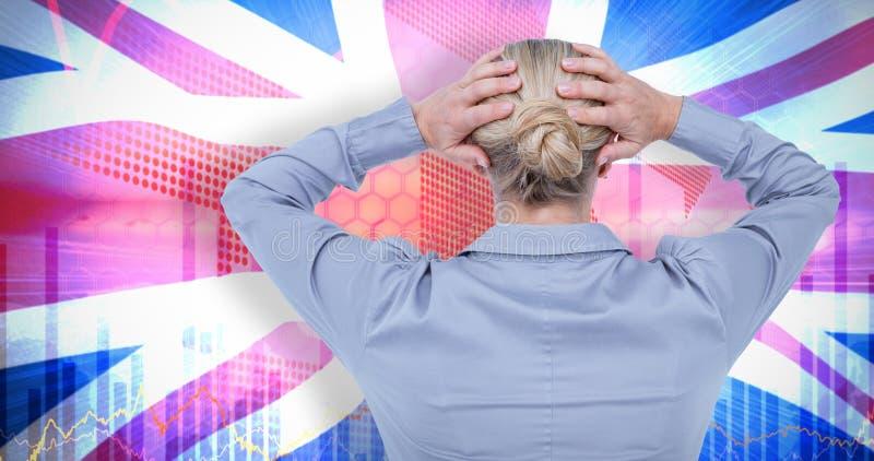 Σύνθετη εικόνα οπισθοσκόπου της ανησυχημένης επιχειρηματία που κρατά το κεφάλι της στοκ φωτογραφίες με δικαίωμα ελεύθερης χρήσης