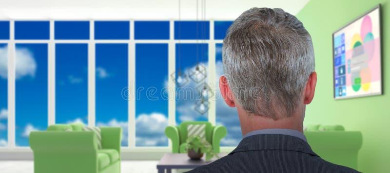 Σύνθετη εικόνα οπισθοσκόπου του επιχειρηματία στοκ φωτογραφία με δικαίωμα ελεύθερης χρήσης