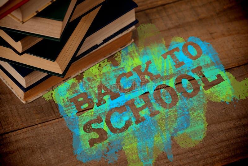 Σύνθετη εικόνα πίσω στο σχολικό κείμενο στον πράσινο και μπλε παφλασμό απεικόνιση αποθεμάτων