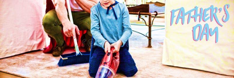 Σύνθετη εικόνα στενού επάνω του μπλε κειμένου ημέρας πατέρων στοκ εικόνα με δικαίωμα ελεύθερης χρήσης