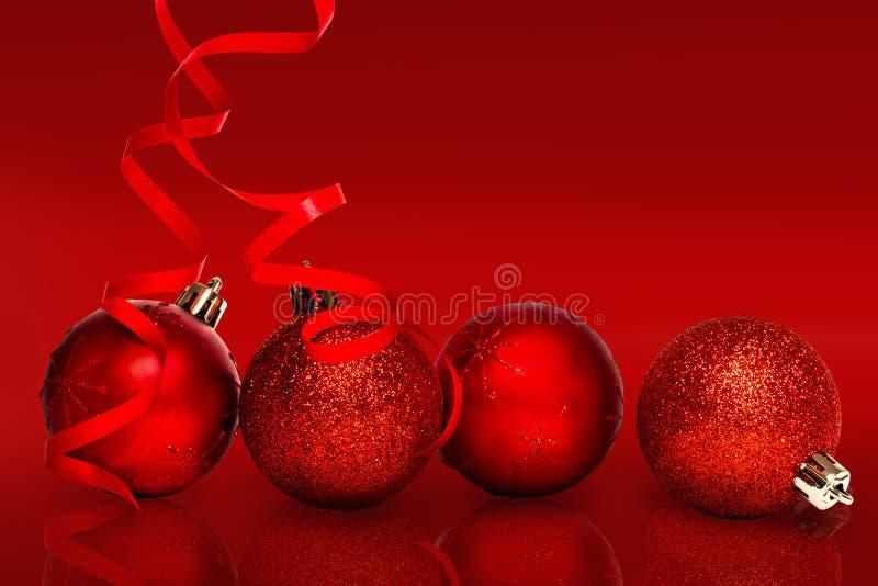 Σύνθετη εικόνα τεσσάρων κόκκινων διακοσμήσεων σφαιρών Χριστουγέννων απεικόνιση αποθεμάτων
