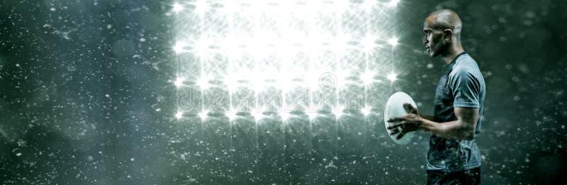 Σύνθετη εικόνα της άποψης σχεδιαγράμματος της βέβαιας σφαίρας ράγκμπι εκμετάλλευσης αθλητικών τύπων στοκ εικόνα με δικαίωμα ελεύθερης χρήσης