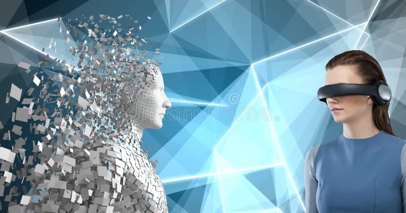 Σύνθετη εικόνα της γυναίκας που χρησιμοποιεί την εικονική πραγματικότητα τρισδιάστατη