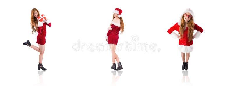 Σύνθετη εικόνα της εορταστικής redhead εκμετάλλευσης ένα δώρο στοκ φωτογραφία