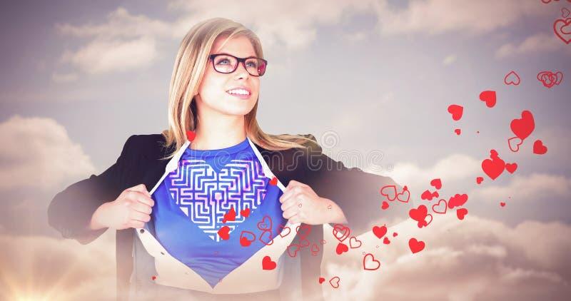 Σύνθετη εικόνα της επιχειρηματία που ανοίγει το ύφος superhero πουκάμισών της στοκ εικόνες