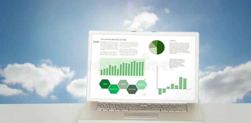 Σύνθετη εικόνα της επιχειρησιακής διεπαφής με τις γραφικές παραστάσεις και τα στοιχεία απεικόνιση αποθεμάτων