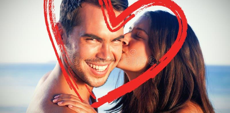 Σύνθετη εικόνα της ελκυστικής γυναίκας που φιλά το φίλο της στο μάγουλο διανυσματική απεικόνιση