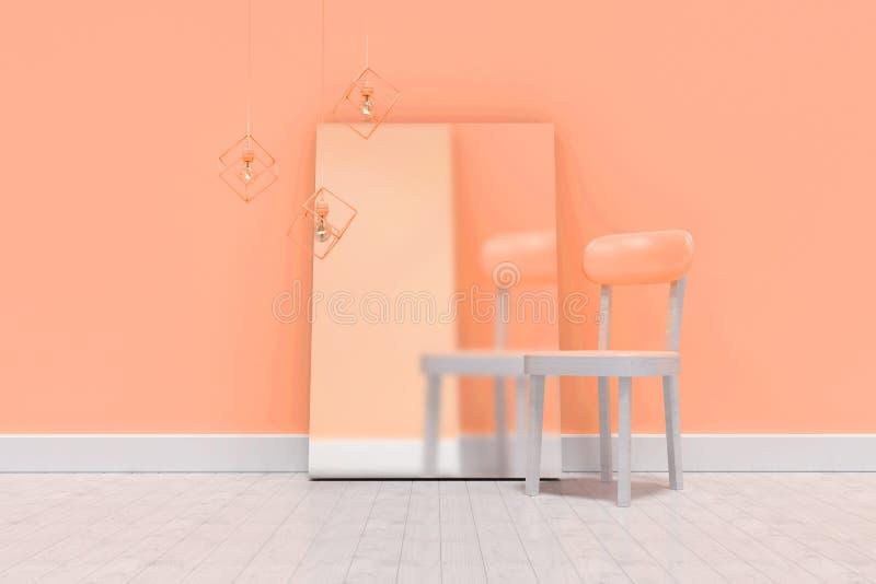 Σύνθετη εικόνα της κενής καρέκλας από το κενό whiteboard ενάντια στον τοίχο ελεύθερη απεικόνιση δικαιώματος