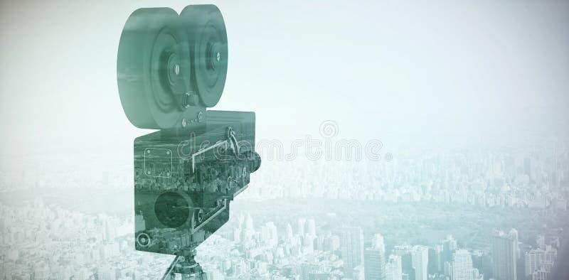 Σύνθετη εικόνα της κινηματογράφησης σε πρώτο πλάνο της κάμερας εξελίκτρων ταινιών με το τρίποδο στοκ φωτογραφία