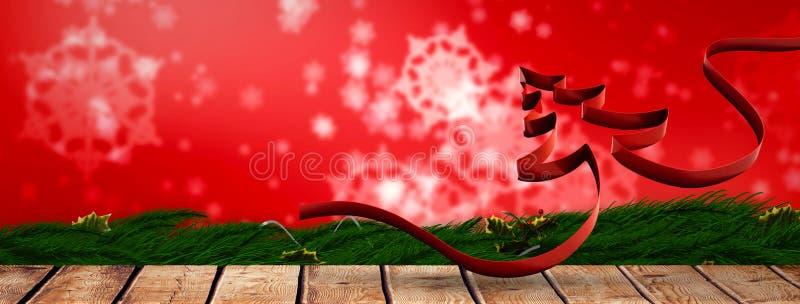 Σύνθετη εικόνα της κορδέλλας στη μορφή του χριστουγεννιάτικου δέντρου απεικόνιση αποθεμάτων