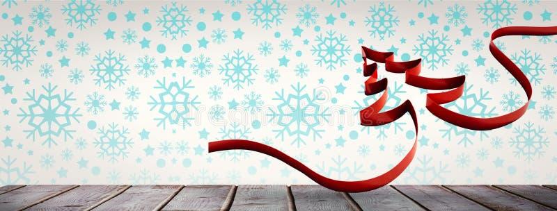 Σύνθετη εικόνα της κορδέλλας στη μορφή του χριστουγεννιάτικου δέντρου διανυσματική απεικόνιση