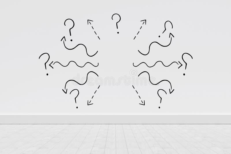 Σύνθετη εικόνα της μαύρης γραμμής καμπυλών με το ερωτηματικό στο άσπρο κλίμα διανυσματική απεικόνιση