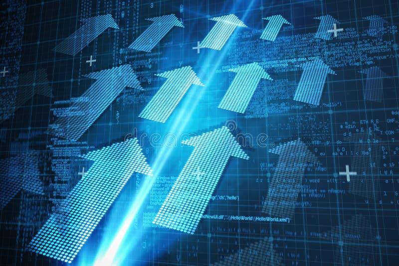 Σύνθετη εικόνα της μπλε μήτρας και των κωδίκων διανυσματική απεικόνιση
