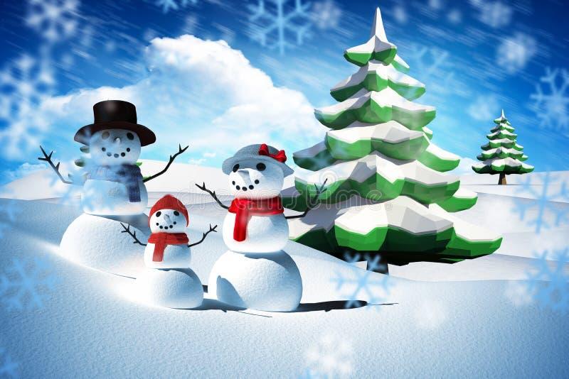 Σύνθετη εικόνα της οικογένειας ατόμων χιονιού διανυσματική απεικόνιση
