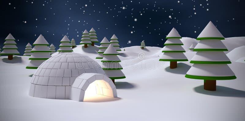 Σύνθετη εικόνα της παγοκαλύβας με τα δέντρα στον τομέα χιονιού ελεύθερη απεικόνιση δικαιώματος