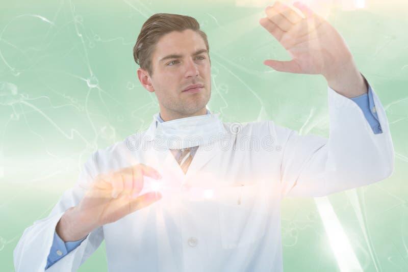 Σύνθετη εικόνα της προσποίησης γιατρών το πείραμα τρισδιάστατο απεικόνιση αποθεμάτων