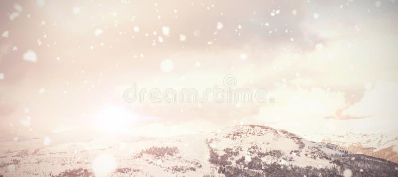 Σύνθετη εικόνα της πτώσης χιονιού διανυσματική απεικόνιση