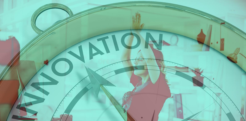 Σύνθετη εικόνα της πυξίδας που δείχνει το innoavtion απεικόνιση αποθεμάτων