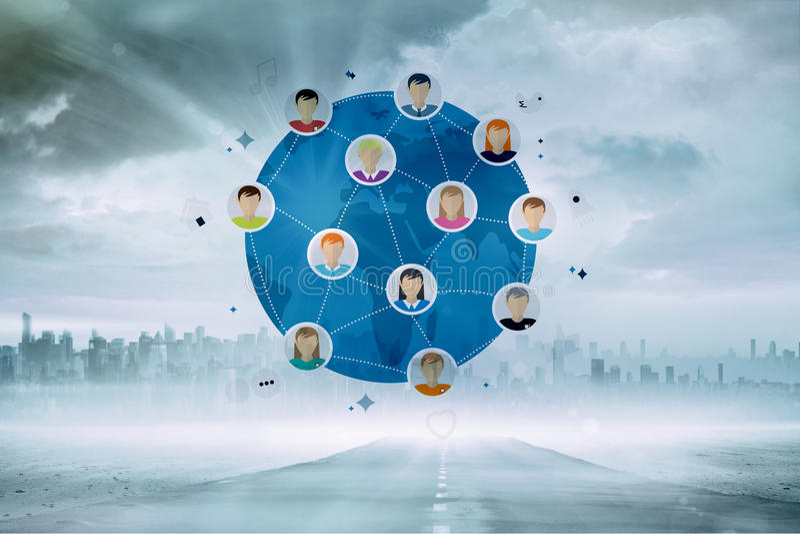 Σύνθετη εικόνα της σε απευθείας σύνδεση κοινότητας διανυσματική απεικόνιση