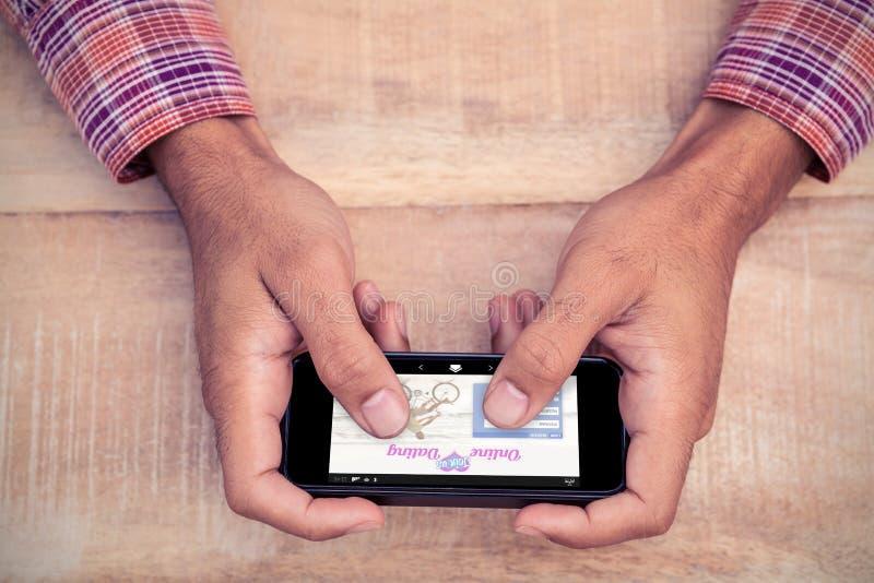 Σύνθετη εικόνα της σε απευθείας σύνδεση χρονολόγησης app στοκ φωτογραφία με δικαίωμα ελεύθερης χρήσης