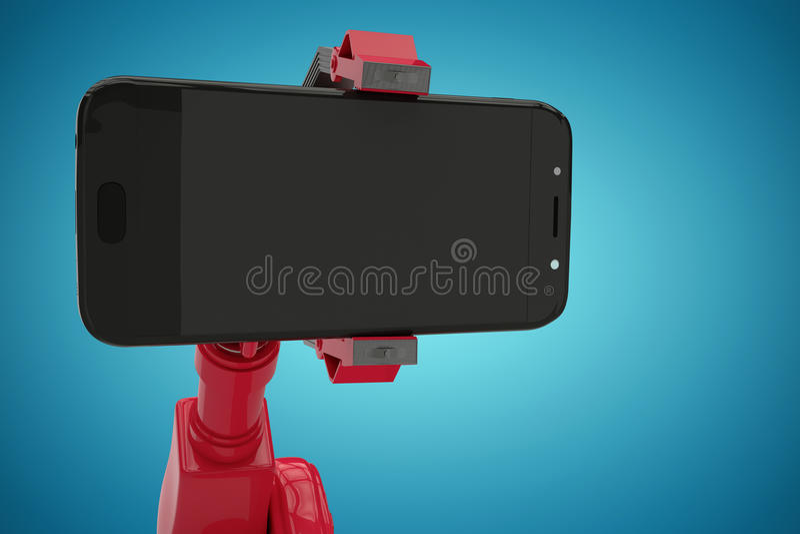 Σύνθετη εικόνα της σύνθετης εικόνας του κόκκινου ρομπότ που παρουσιάζει έξυπνο τηλέφωνο τρισδιάστατο στοκ εικόνες με δικαίωμα ελεύθερης χρήσης