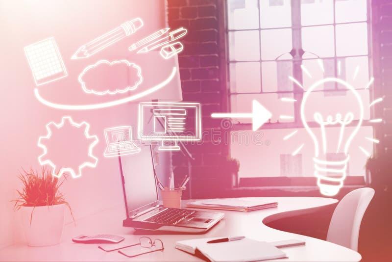 Σύνθετη εικόνα της σύνθετης εικόνας των εικονιδίων υπολογιστών που δείχνουν προς τη λάμπα φωτός τρισδιάστατη διανυσματική απεικόνιση