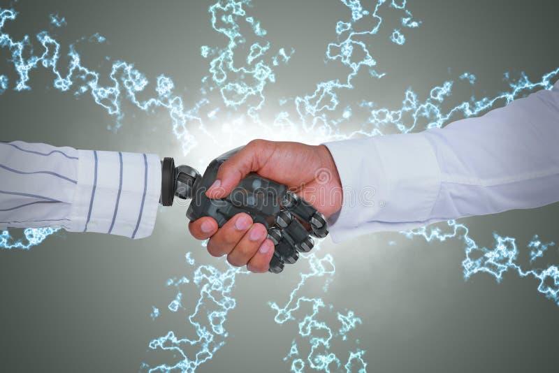 Σύνθετη εικόνα της σύνθετης εικόνας των χεριών τινάγματος επιχειρηματιών και ρομπότ στοκ φωτογραφία