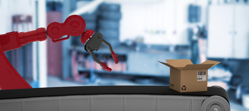 Σύνθετη εικόνα της τρισδιάστατης εικόνας της γραμμής παραγωγής με το ανοικτό κουτί από χαρτόνι διανυσματική απεικόνιση