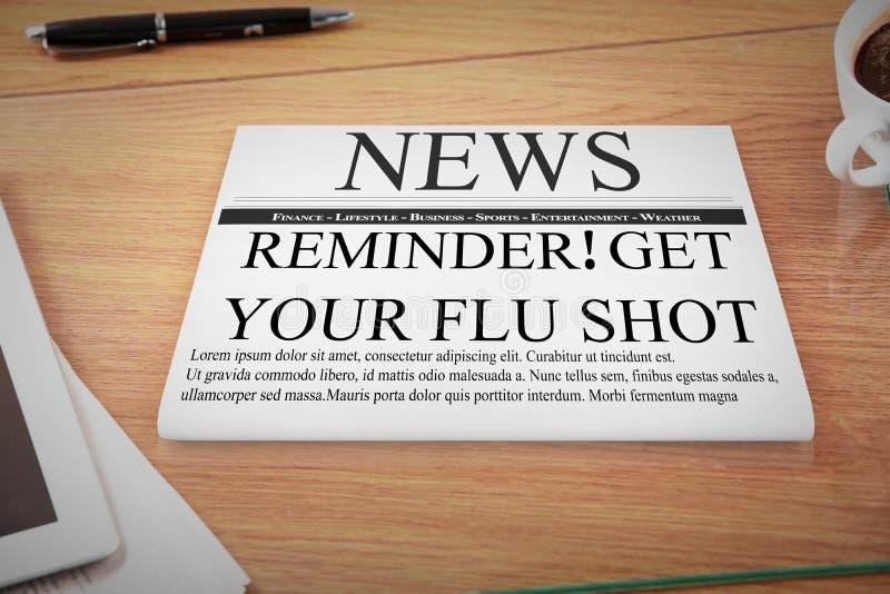 Σύνθετη εικόνα της υπενθύμισης εμβολίων γρίπης απεικόνιση αποθεμάτων
