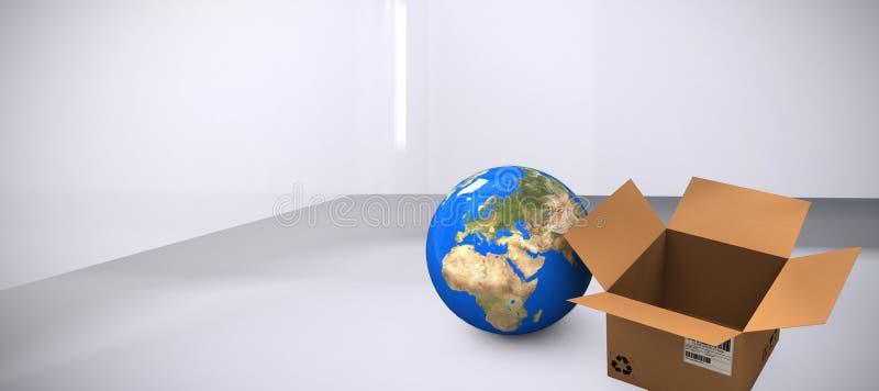 Σύνθετη εικόνα της υψηλής άποψης γωνίας του πλανήτη Γη και του κουτιού από χαρτόνι ελεύθερη απεικόνιση δικαιώματος
