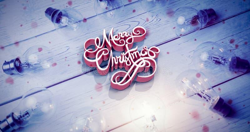 Σύνθετη εικόνα της υψηλής άποψης γωνίας τρισδιάστατου του κειμένου Χαρούμενα Χριστούγεννας απεικόνιση αποθεμάτων