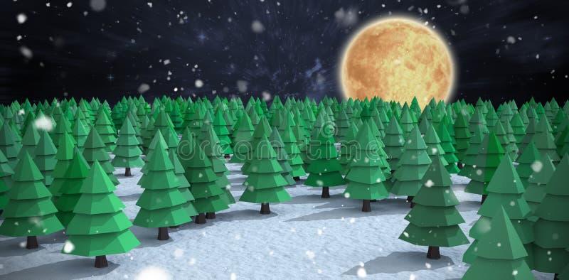 Σύνθετη εικόνα της υψηλής άποψης γωνίας των πράσινων χριστουγεννιάτικων δέντρων στο δάσος στοκ φωτογραφία με δικαίωμα ελεύθερης χρήσης