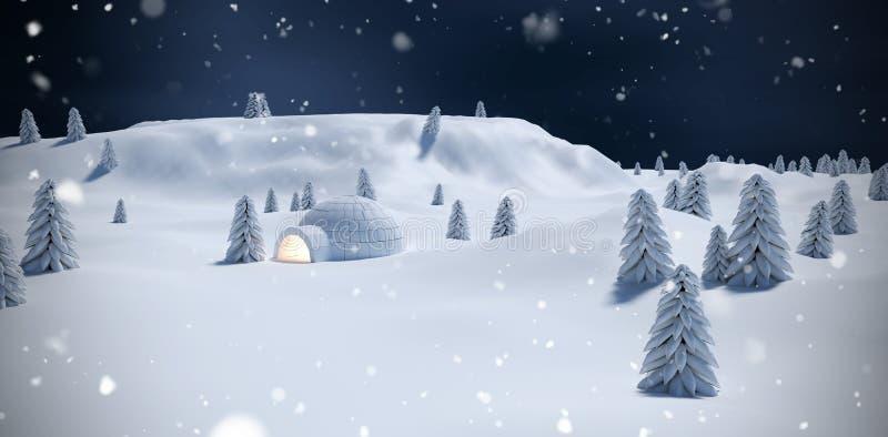 Σύνθετη εικόνα της φωτισμένης παγοκαλύβας με τα δέντρα στον τομέα χιονιού διανυσματική απεικόνιση